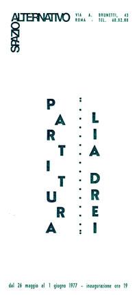 Invito mostra personale di Lia Drei, Partitura, Spazio Alternativo, Roma, 1977